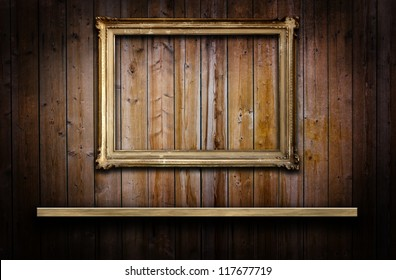 Old grunge wood panels with a frame and a shelf