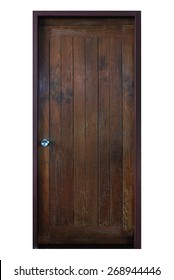Old grunge wood simple door isolated on white background.
