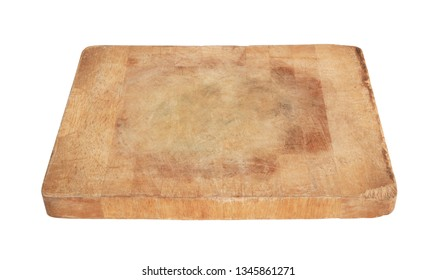 Old grunge wooden cutting board isolated. Rustic kitchenboard on white background.