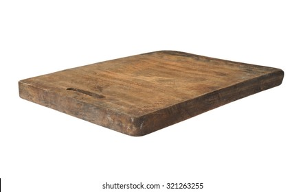 Old grunge wooden kitchen cutting board isolated on white
