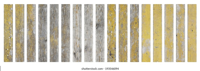 Old grunge wooden planks isolated on white