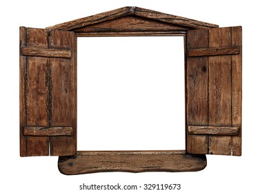 Old grunge wooden window frame with shutters opened isolated on white.  sc 1 st  Shutterstock & Wood Window Frame Stock Images Royalty-Free Images \u0026 Vectors ...