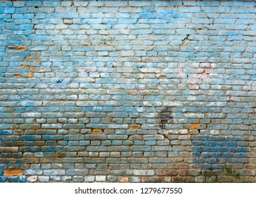 Old grungy blue brick wall texture