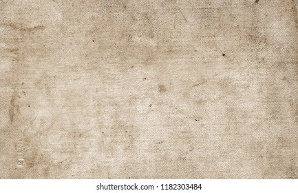 Old grungy canvas pattern with dirty spots in brown tone. Abstract background, texture, surface for any design.