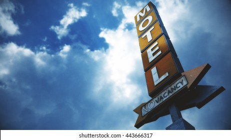 Old Grungy Motel Sign under Cloudy Sky on a Dull Day 3D Illustration