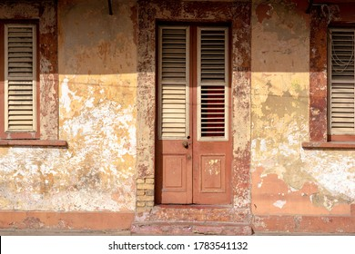 Old grungy stone walls of vintage buildings in Port-of-Spain, Trinidad