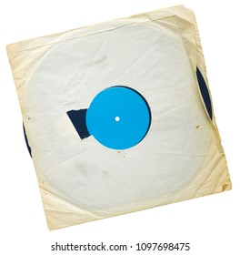 Old grungy vinyl record with yellowed inner sleeve, free copy space, blank label,isolated on white background.