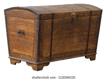 Old grungy wooden treasure chest with rusty metal decoration Antique wood and glass book case cabinet isolated on white background