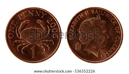 Old Guernsey 1 Penny Coins On Stock Photo (Edit Now) 536352226
