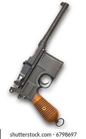 Old gun Mauser Germany on white background