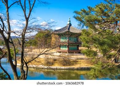 Old gyeongbokgung palace historic architecture in seoul, Korea