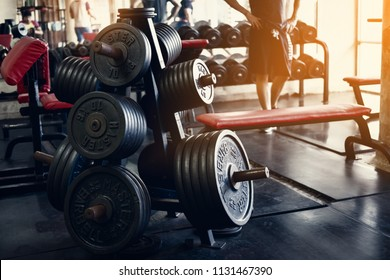Old gym interior with equipment, Sports equipment in gym