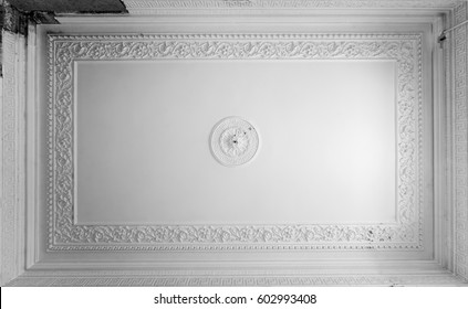 The old gypsum rosette on the celling.