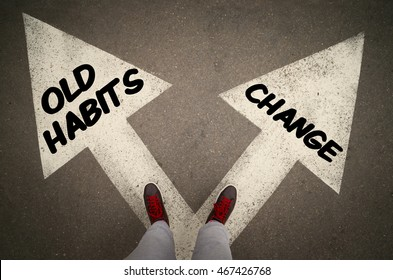 OLD HABITS versus CHANGE written on the white arrows, dilemmas concept.