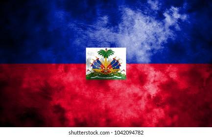 Old Haiti grunge background flag