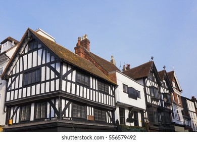 Old half timbered buildings on the corner of Silver Street and Minster Street in the city of Salisbury, Wiltshire, England.