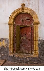 Old half-opened door in Casablanca, Morocco.