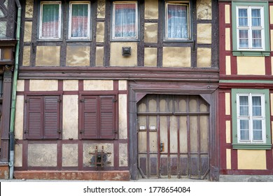 old half-timbered house in need of renovation in the old town of Wernigerode in Germany