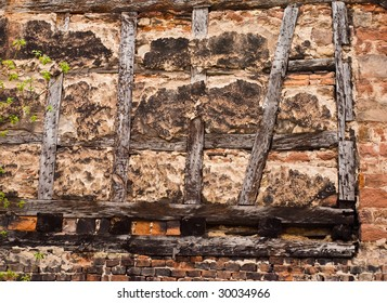 Old half-timbered wall in a German village