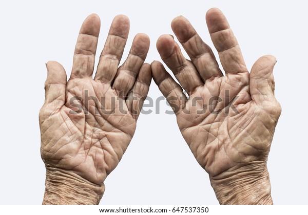 alte Hand auf weißem Hintergrund