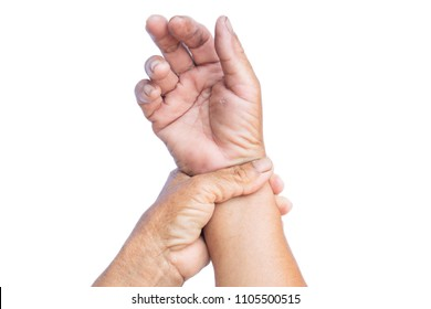 Old hand pain on wrist isolated white background,Muscle weakness and fatigue concept.