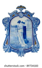 Old hand painted blue tiles (Azulejos) from ancient Portuguese culture over white background.