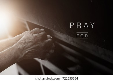 Old hand  praying in the church, Hands folded in prayer concept for faith with copy space, spirituality and religion, Pray for concept
