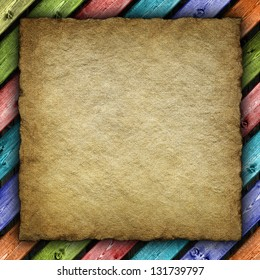 Old handmade paper or canvas sheet on colored background