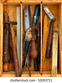 old handmen tools in a box