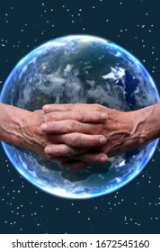 old hands holding the planet Mother Earth