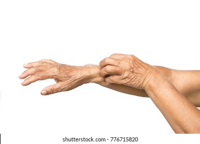 Old hands itching in arm on white background, dermatitis concept