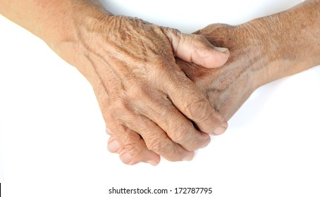 old hands on a white background withe clipping path