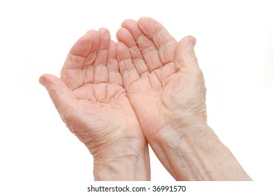 old hands on a white background