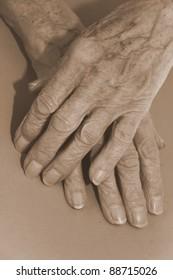 old hands showing hard work