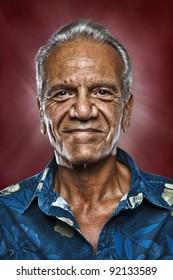 Old Happy Hawaiian Man