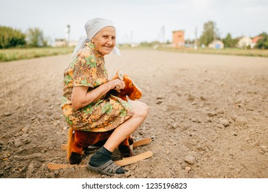 Old happy woman childhood memories. Odd strange unusual elderly lady riding toy horse in field.  Outdoor country lifestyle portrait of great grandmother.  Well being in ageing.  Funny senior female