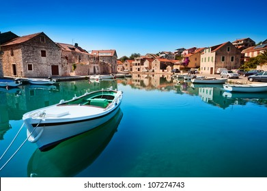 Old harbor at Adriatic sea. Hvar island, Croatia, popular touristic destination