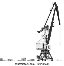 Old Harbor crane isolated on white background. The outline of buildings and houses. Contrasting black-and-white photo with free space