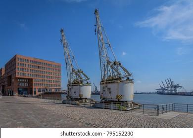 Old harbor cranes at the Holzhafen in Hamburg