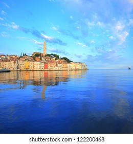 Old harbor and peaceful reflection at Rovinj, Croatia