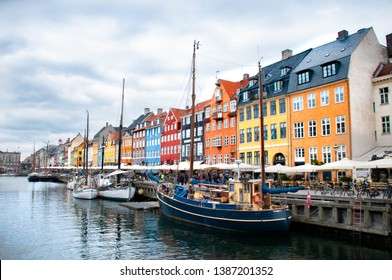The old harbour Nyhavn in the middle of Copenhagen.