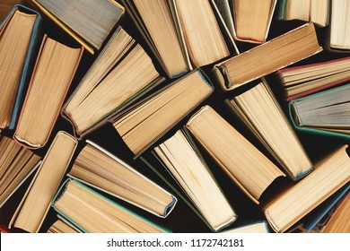 Old hardback books background. Top view. education background. Back to school. Copy space for text.