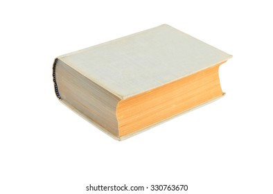 Old hardcover book, isolated on white background