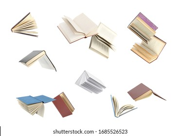 Old hardcover books flying on white background