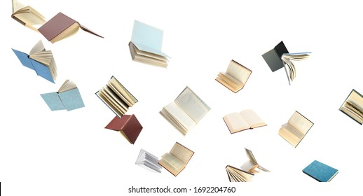 Old hardcover books flying on white background - Shutterstock ID 1692204760
