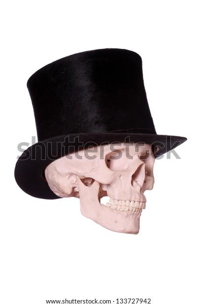 old hat on skull