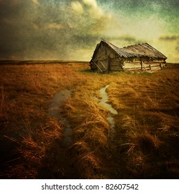 Old haunted house on the empty field