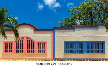 Old hawaiian building with colorful shutters