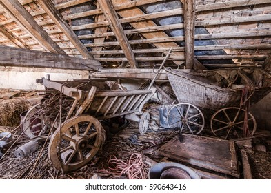 old hay rack made of wood on the loft