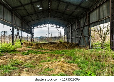 Old hay storage. .Abandoned collective farm. Russia, Tula region.